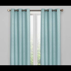 Living Colors Teal Scroll Blackout Curtains